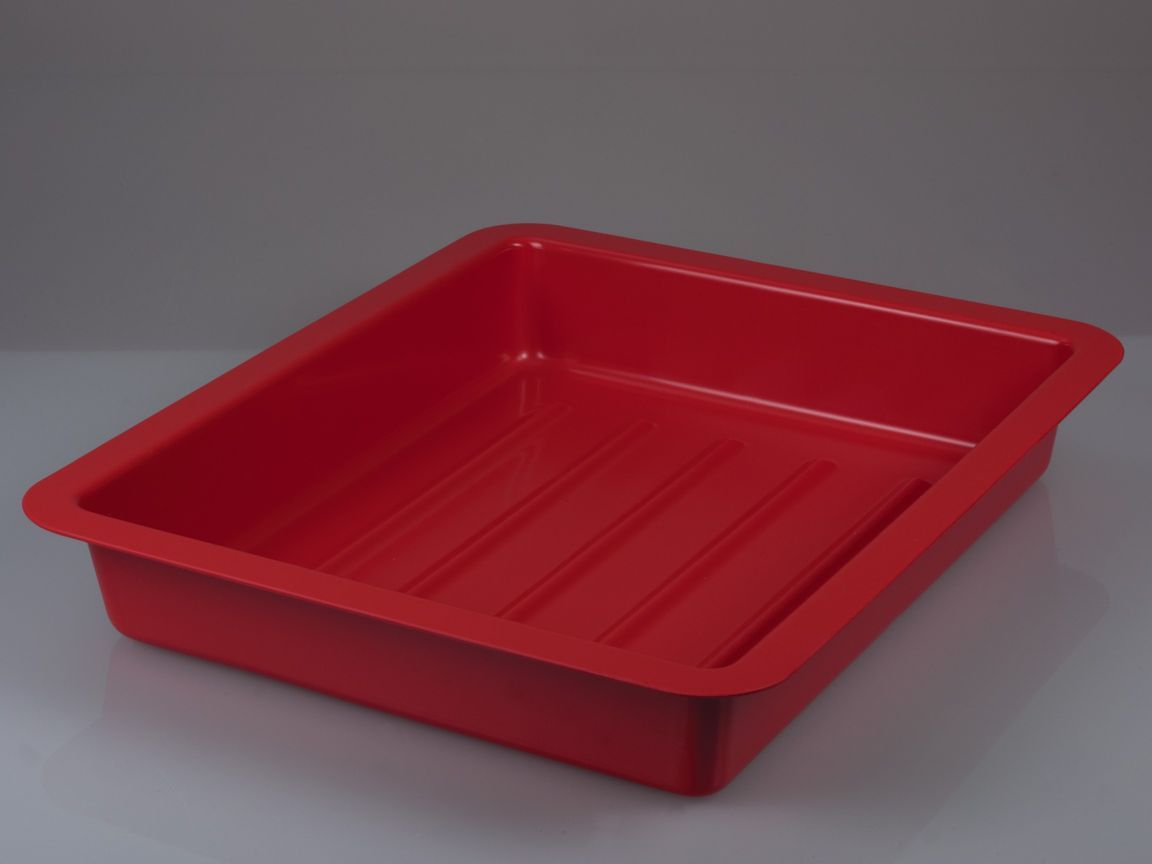 Photographic tray, deep, w/ ribs, red, 42x51 cm