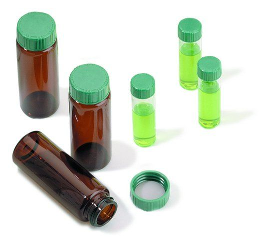Vials, screw top with solid green Melamine cap with PTFE liner, preassembled, 100, 2 mL,