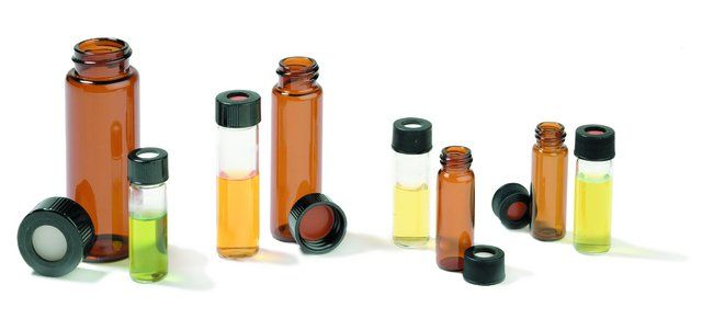 Vials, screw top with phenolic open-top cap, pre-assembled, 4 mL, amber glass vial